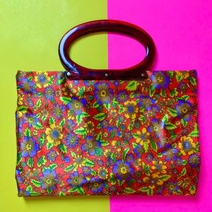 Vintage 1960s flower power foldable handbag